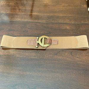 Wide Elastic Belt with Gold  Buckle M/L Tan